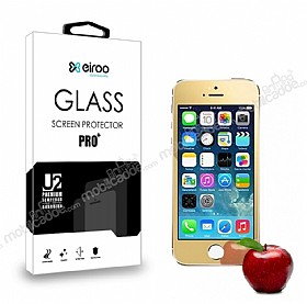 Eiroo iPhone SE / 5 / 5S Tempered Glass Ayna Gold Cam Ekran Koruyucu