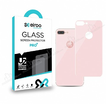 Eiroo iPhone 7 Plus / 8 Plus Tempered Glass Rose Gold Arka Cam Ekran Koruyucu