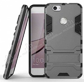 Eiroo Iron Armor Huawei Nova Standlı Ultra Koruma Dark Silver Kılıf