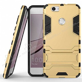 Eiroo Iron Armor Huawei Nova Standlı Ultra Koruma Gold Kılıf