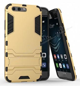 Eiroo Iron Armor Huawei P10 Standlı Ultra Koruma Gold Kılıf