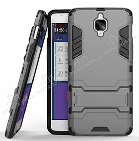 Eiroo Iron Armor OnePlus 3 Standlı Ultra Koruma Dark Silver Kılıf
