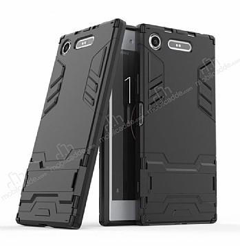 Eiroo Iron Armor Sony Xperia XZ1 Standlı Ultra Koruma Siyah Kılıf