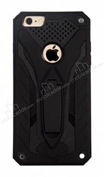 Eiroo Iron Care iPhone 6 Plus / 6S Plus Standlı Ultra Koruma Siyah Kılıf