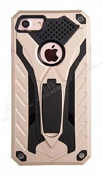 Eiroo Iron Care iPhone 7 Standlı Ultra Koruma Gold Kılıf