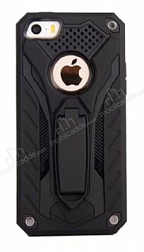 Eiroo Iron Care iPhone SE / 5 / 5S Standlı Ultra Koruma Siyah Kılıf