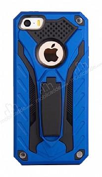 Eiroo Iron Care iPhone SE / 5 / 5S Standlı Ultra Koruma Lacivert Kılıf
