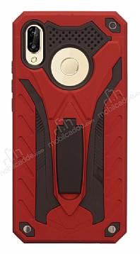 Eiroo Iron Care Huawei P20 Lite Standlı Ultra Koruma Kırmızı Kılıf