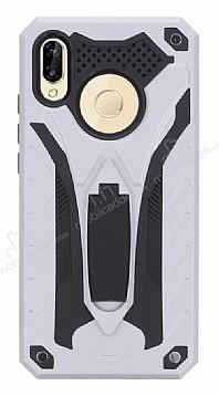 Eiroo Iron Care Huawei P20 Lite Standlı Ultra Koruma Silver Kılıf