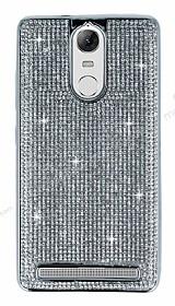 Eiroo Lenovo Vibe K5 Note Taşlı Silver Silikon Kılıf