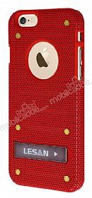 Eiroo Lesan iPhone 6 / 6S Standlı Metal Delikli Kırmızı Rubber Kılıf