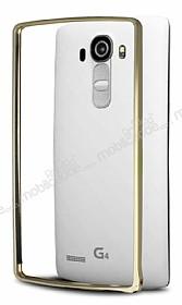 Eiroo LG G4 Gold Çizgili Round Metal Bumper Çerçeve Gold Kılıf