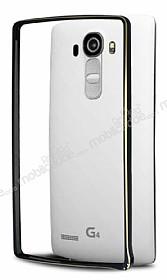 Eiroo LG G4 Gold Çizgili Round Metal Bumper Çerçeve Siyah Kılıf
