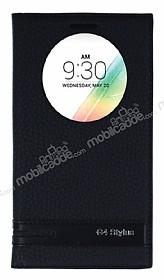 LG G4 Stylus Gizli Mıknatıslı Pencereli Siyah Deri Kılıf