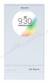 LG G4 Stylus Gizli Mıknatıslı Pencereli Beyaz Deri Kılıf