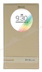 LG G4 Stylus Gizli Mıknatıslı Pencereli Gold Deri Kılıf