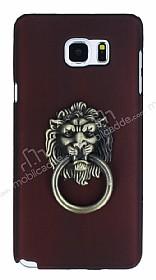 Eiroo Lion Ring Samsung Galaxy Note 5 Selfie Yüzüklü Bordo Rubber Kılıf