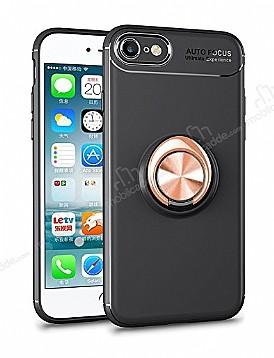Eiroo Liquid Ring iPhone SE 2020 Standlı Silikon Siyah-Rose Gold Silikon Kılıf