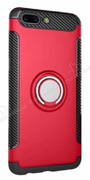 Eiroo Mage Fit Huawei Mate 9 Pro Standlı Ultra Koruma Kırmızı Kılıf