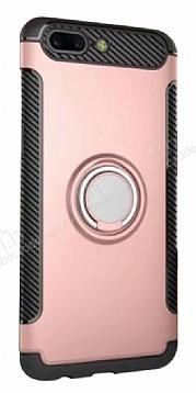 Eiroo Mage Fit Huawei Mate 9 Pro Standlı Ultra Koruma Rose Gold Kılıf