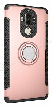 Eiroo Mage Fit Huawei Mate 9 Standlı Ultra Koruma Rose Gold Kılıf