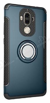 Eiroo Mage Fit Huawei Mate 9 Standlı Ultra Koruma Lacivert Kılıf