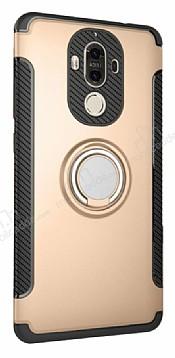Eiroo Mage Fit Huawei Mate 9 Standlı Ultra Koruma Gold Kılıf
