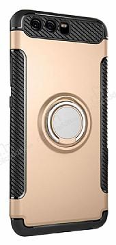 Eiroo Mage Fit Huawei P10 Plus Standlı Ultra Koruma Gold Kılıf