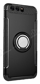 Eiroo Mage Fit Huawei P10 Plus Standlı Ultra Koruma Siyah Kılıf