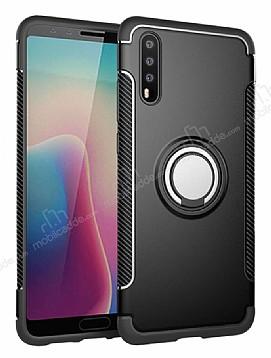 Eiroo Mage Fit Huawei P20 Standlı Ultra Koruma Siyah Kılıf