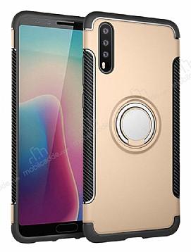 Eiroo Mage Fit Huawei P20 Standlı Ultra Koruma Gold Kılıf
