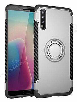 Eiroo Mage Fit Huawei P20 Standlı Ultra Koruma Silver Kılıf