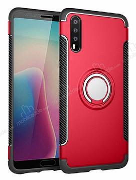 Eiroo Mage Fit Huawei P20 Standlı Ultra Koruma Kırmızı Kılıf