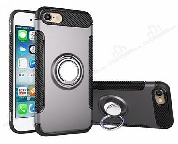 Eiroo Mage Fit iPhone 6 / 6S Standlı Ultra Koruma Dark Silver Kılıf