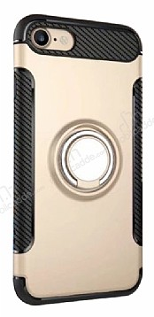 Eiroo Mage Fit iPhone 7 / 8 Standlı Ultra Koruma Gold Kılıf