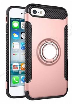 Eiroo Mage Fit iPhone SE / 5 / 5S Standlı Ultra Koruma Rose Gold Kılıf