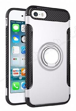 Eiroo Mage Fit iPhone SE / 5 / 5S Standlı Ultra Koruma Silver Kılıf