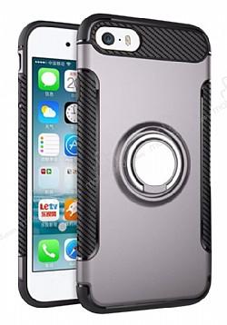 Eiroo Mage Fit iPhone SE / 5 / 5S Standlı Ultra Koruma Dark Silver Kılıf