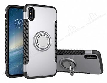 Eiroo Mage Fit iPhone X Standlı Ultra Koruma Silver Kılıf