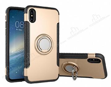 Eiroo Mage Fit iPhone X Standlı Ultra Koruma Gold Kılıf