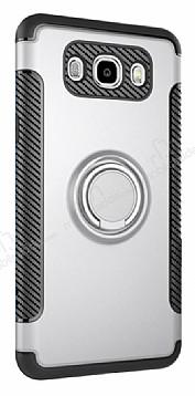 Eiroo Mage Fit Samsung Galaxy J5 2016 Standlı Ultra Koruma Silver Kılıf