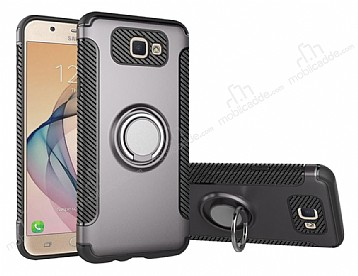 Eiroo Mage Fit Samsung Galaxy J5 Prime Standlı Ultra Koruma Dark Silver Kılıf