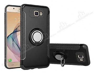 Eiroo Mage Fit Samsung Galaxy J5 Prime Standlı Ultra Koruma Siyah Kılıf