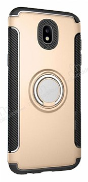 Eiroo Mage Fit Samsung Galaxy J5 Pro 2017 Standlı Ultra Koruma Gold Kılıf