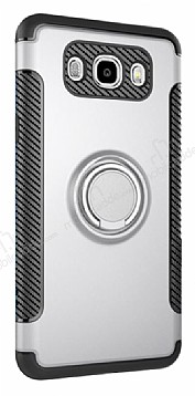 Eiroo Mage Fit Samsung Galaxy J7 2016 Standlı Ultra Koruma Silver Kılıf