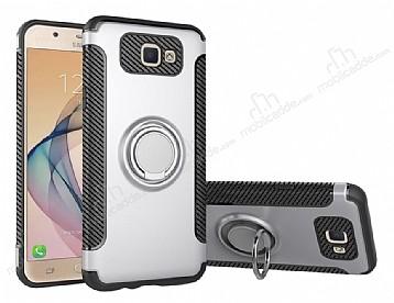 Eiroo Mage Fit Samsung Galaxy J7 Prime Standlı Ultra Koruma Silver Kılıf