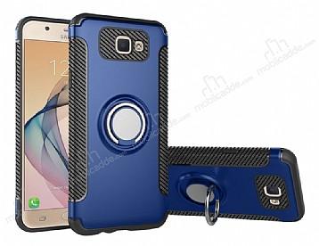 Eiroo Mage Fit Samsung Galaxy J7 Prime Standlı Ultra Koruma Lacivert Kılıf