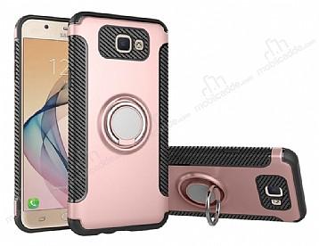 Eiroo Mage Fit Samsung Galaxy J7 Prime Standlı Ultra Koruma Rose Gold Kılıf