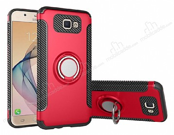 Eiroo Mage Fit Samsung Galaxy J7 Prime Standlı Ultra Koruma Kırmızı Kılıf