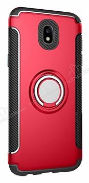 Eiroo Mage Fit Samsung Galaxy J7 Pro 2017 Standlı Ultra Koruma Kırmızı Kılıf